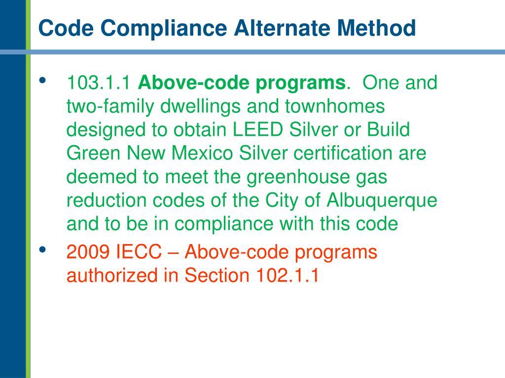 Code Compliance Alternate Method