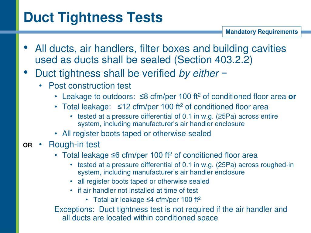 Duct Tightness Tests