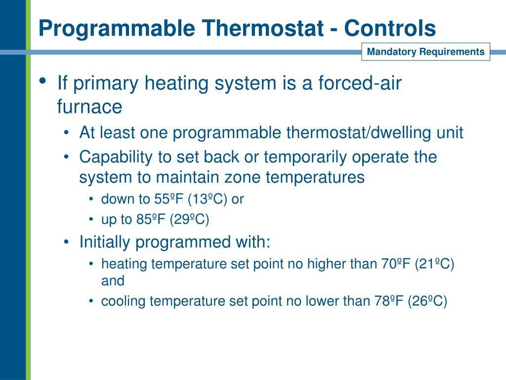 Programmable Thermostat - Controls