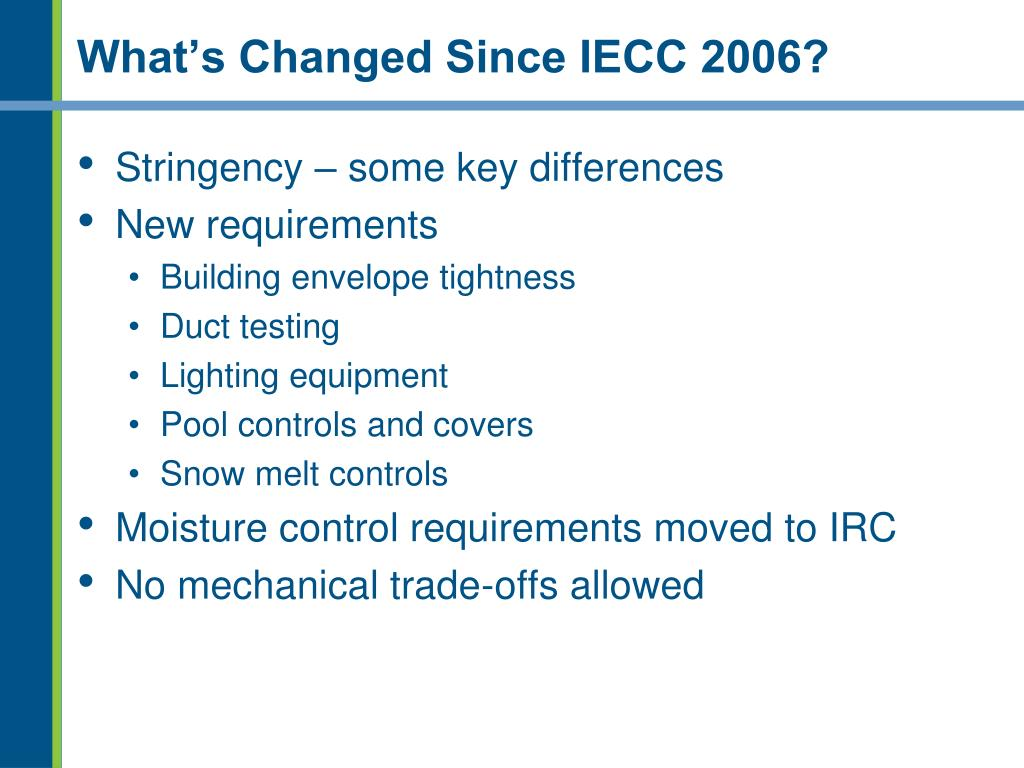 What's Changed Since IECC 2006?