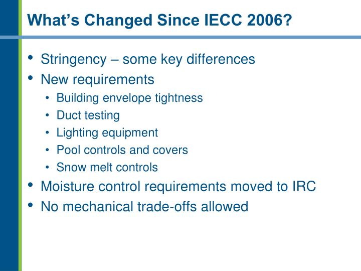 What s changed since iecc 2006