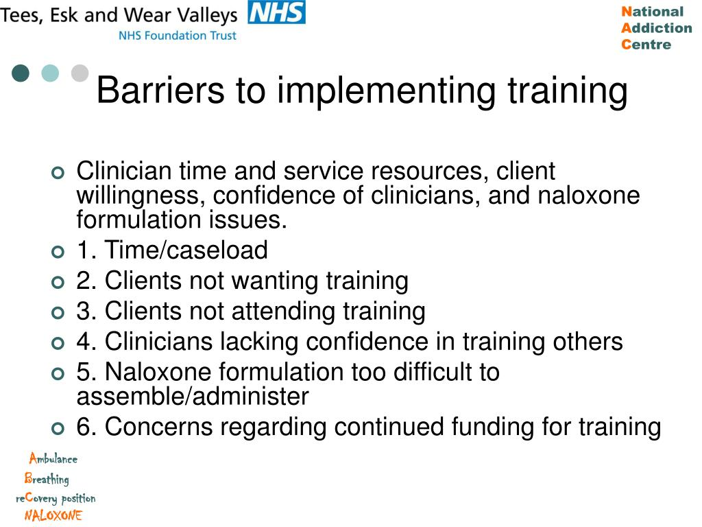 Barriers to implementing training