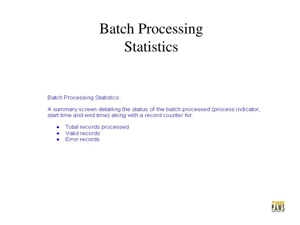 Batch Processing Statistics
