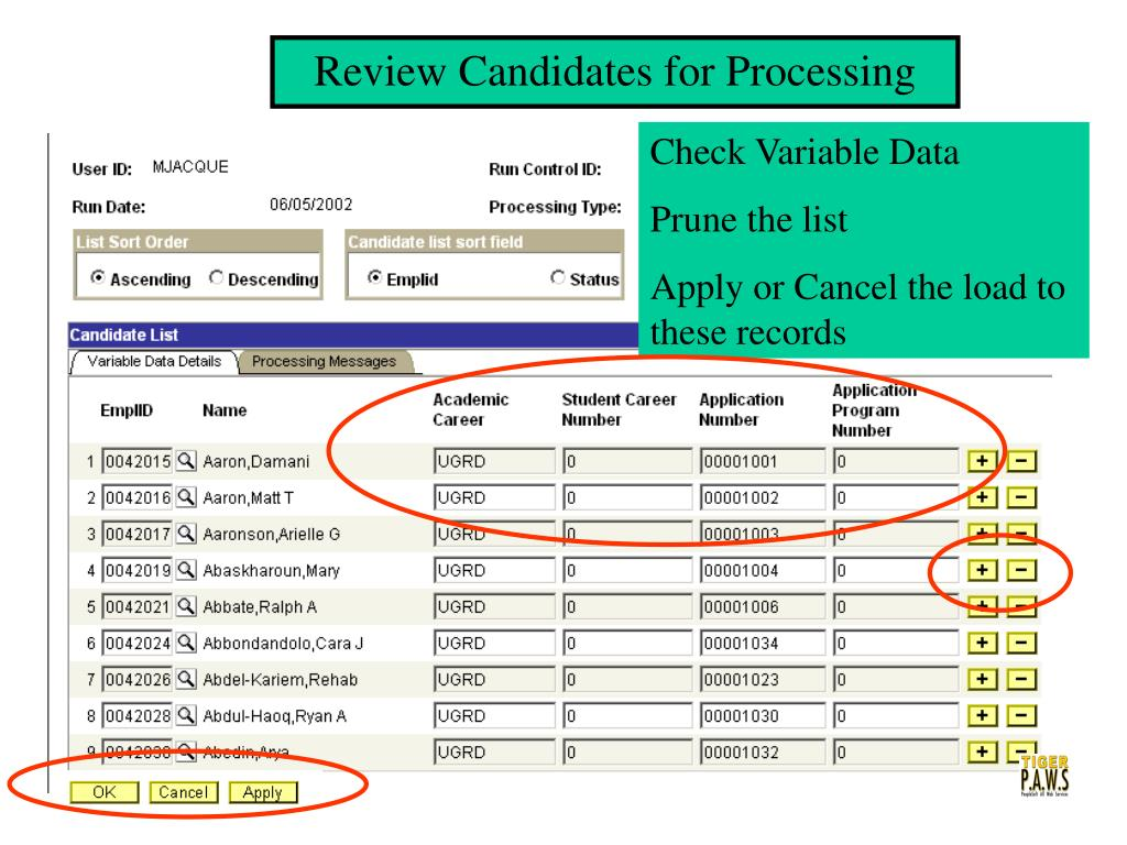 Review Candidates for Processing