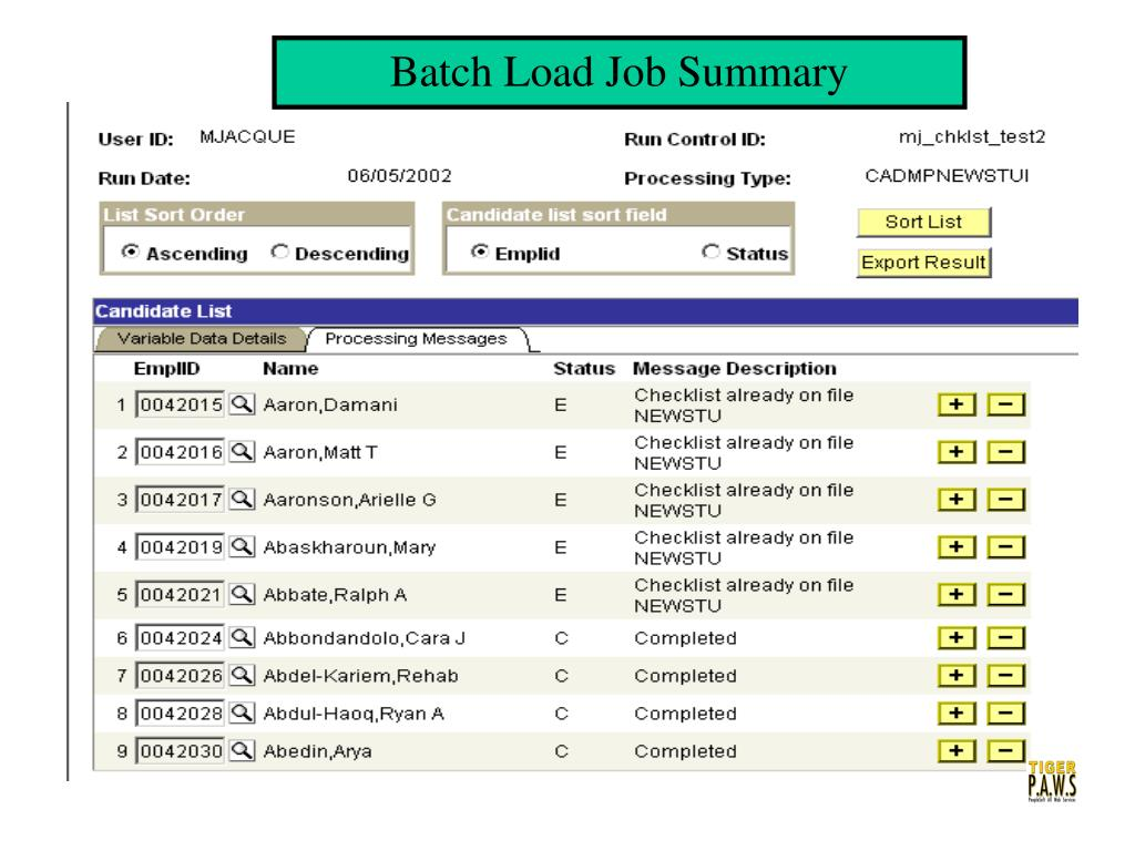 Batch Load Job Summary