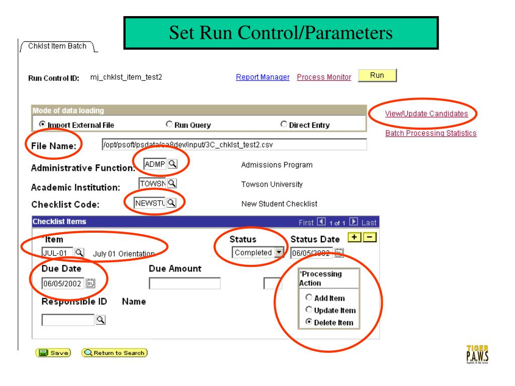 Set Run Control/Parameters