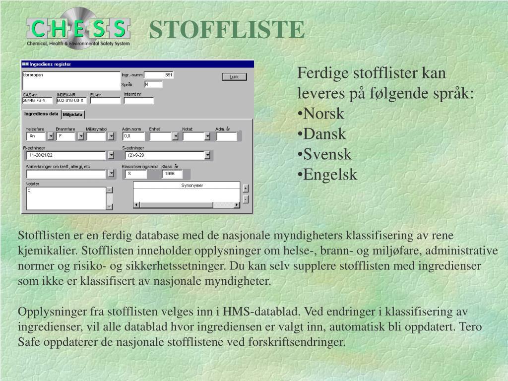 STOFFLISTE