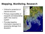 mapping monitoring research