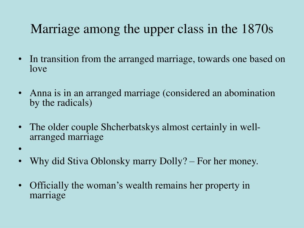 Marriage among the upper class in the 1870s