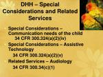 dhh special considerations and related services