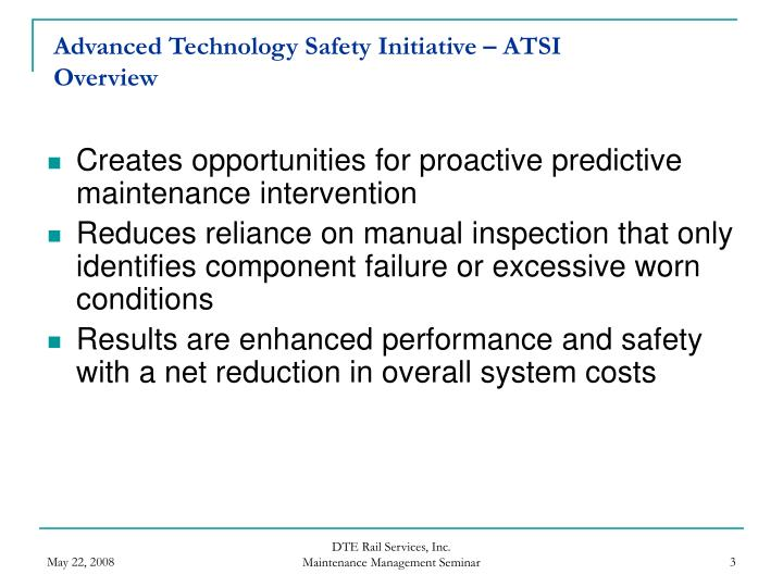 Advanced technology safety initiative atsi overview1