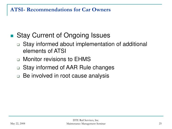 ATSI- Recommendations for Car Owners