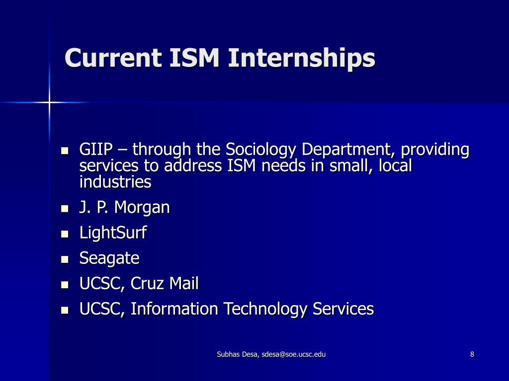 Current ISM Internships
