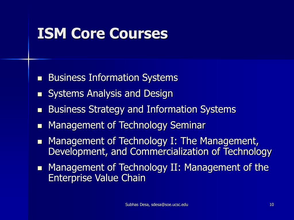 ISM Core Courses