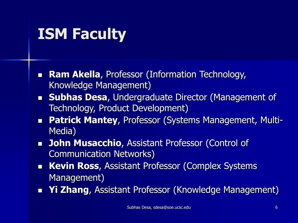 ISM Faculty