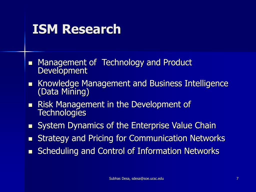 ISM Research