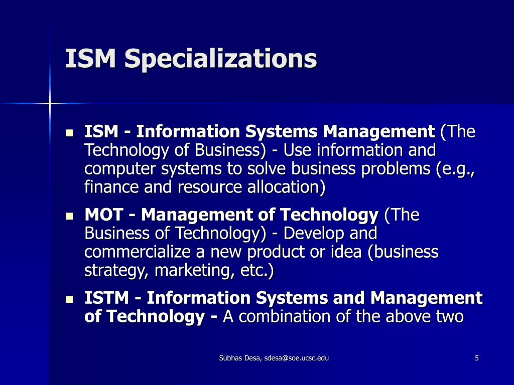 ISM Specializations