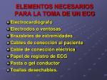 elementos necesarios para la toma de un ecg