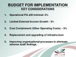 budget for implementation key considerations