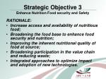 strategic objective 3 enhance nutrition food security and safety