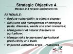 strategic objective 4 manage and mitigate agricultural risk
