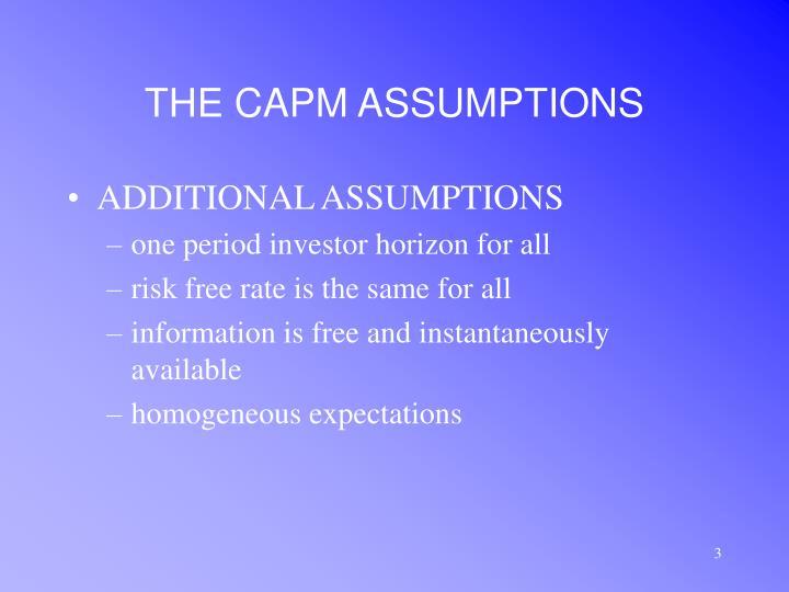 The capm assumptions3