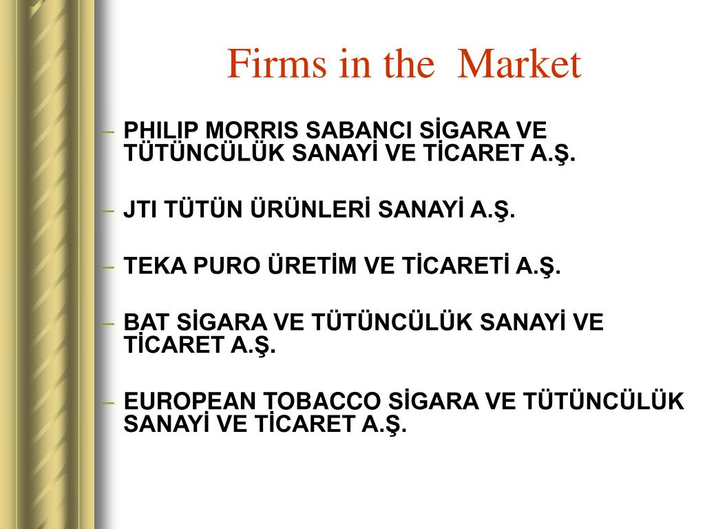Firms in the  Market