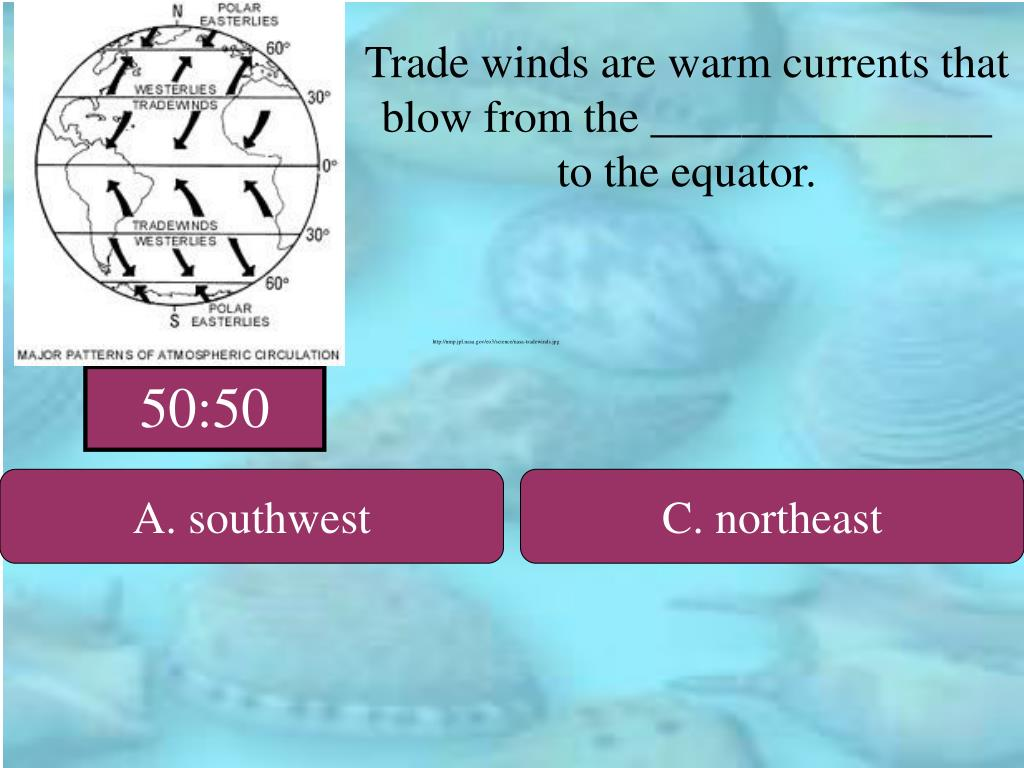 Trade winds are warm currents that blow from the _______________ to the equator.