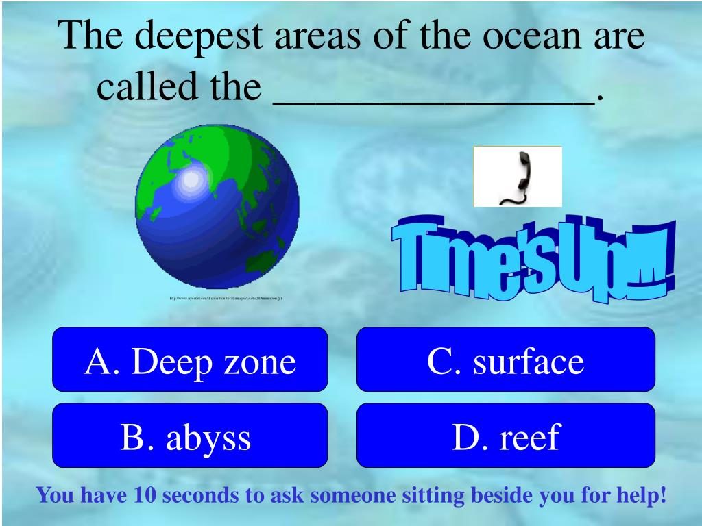 The deepest areas of the ocean are called the _______________.