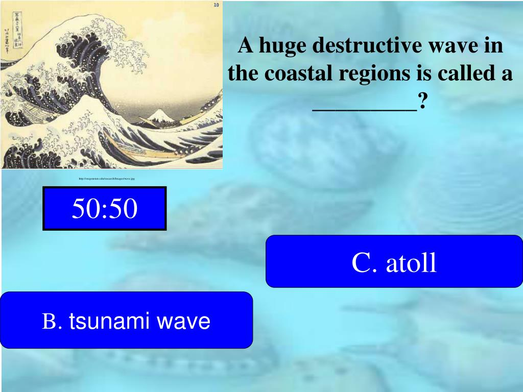 A huge destructive wave in the coastal regions is called a _________?