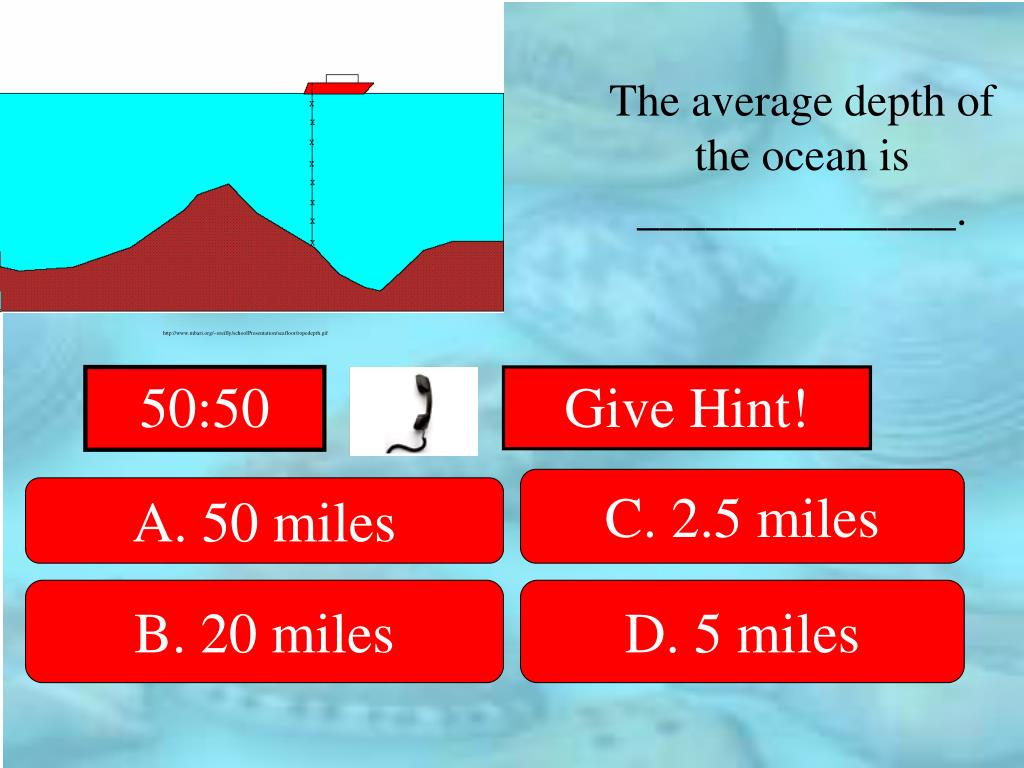 The average depth of the ocean is ______________.