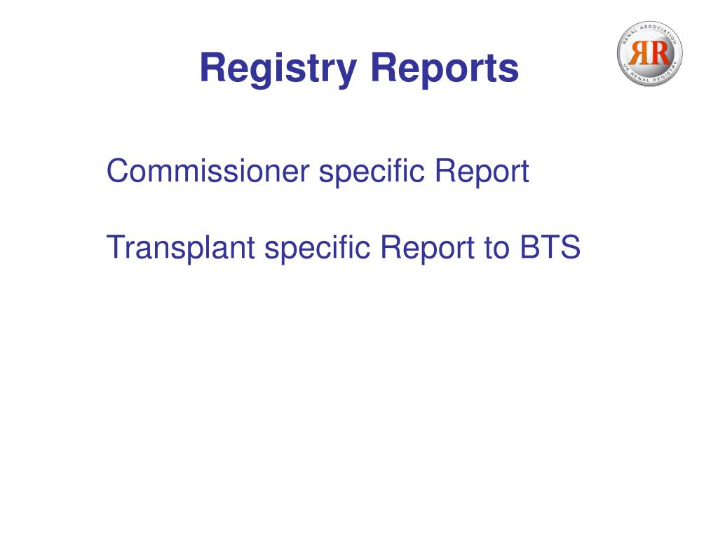Registry Reports