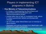 players in implementing ict programs in bolivia12