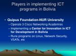 players in implementing ict programs in bolivia19