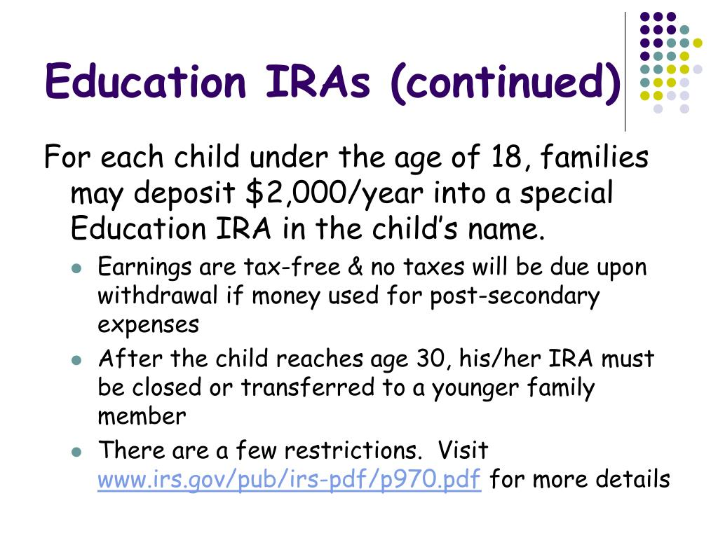 Education IRAs (continued)