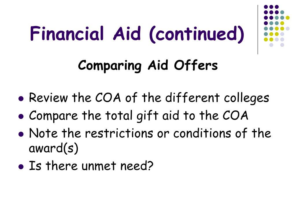 Financial Aid (continued)