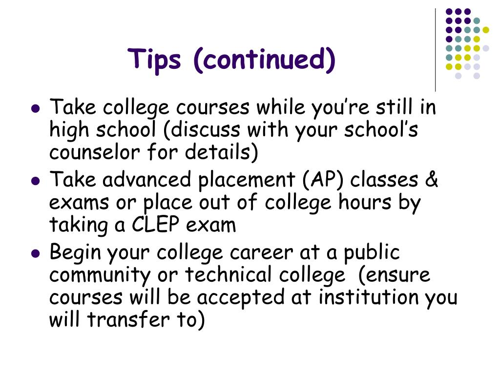 Tips (continued)