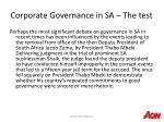 corporate governance in sa the test