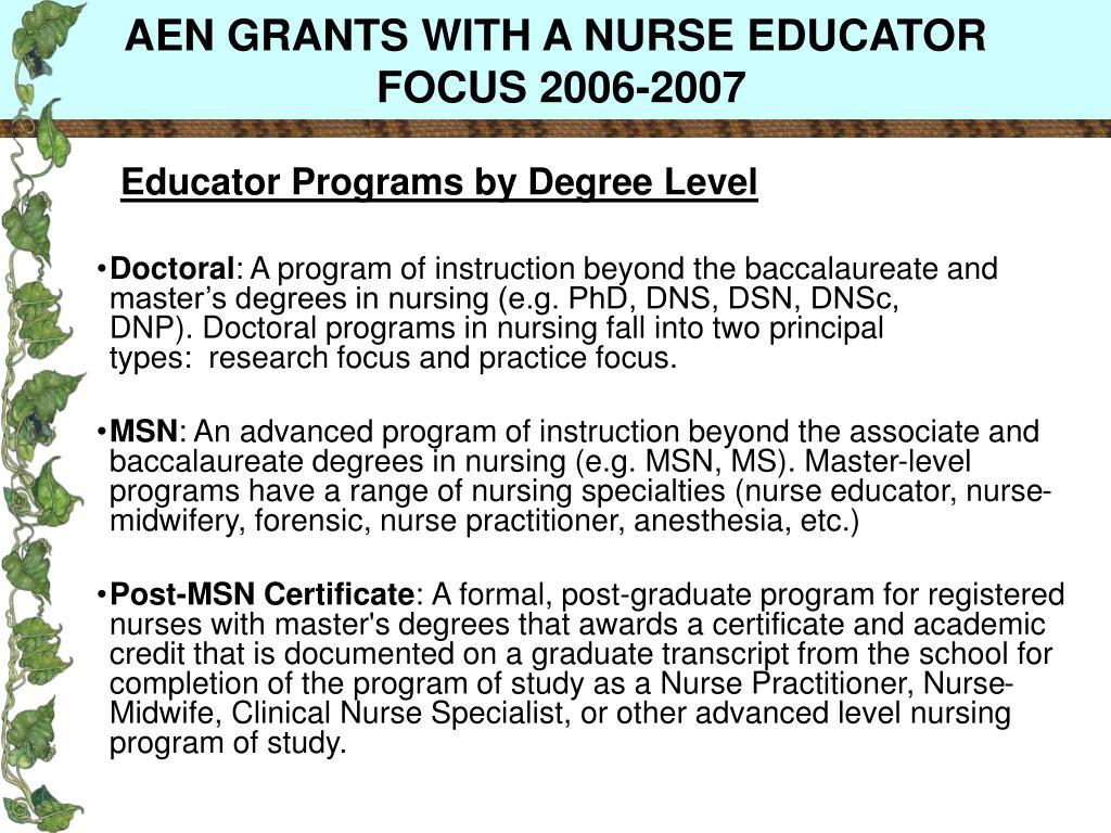 AEN GRANTS WITH A NURSE EDUCATOR