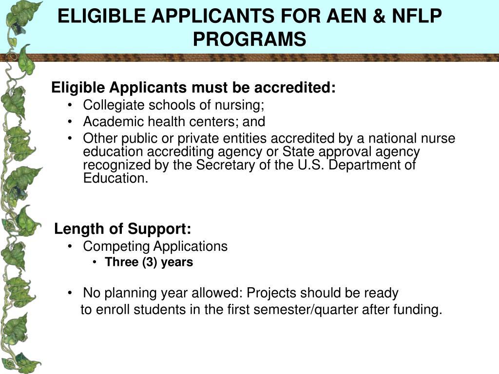 ELIGIBLE APPLICANTS FOR AEN & NFLP PROGRAMS
