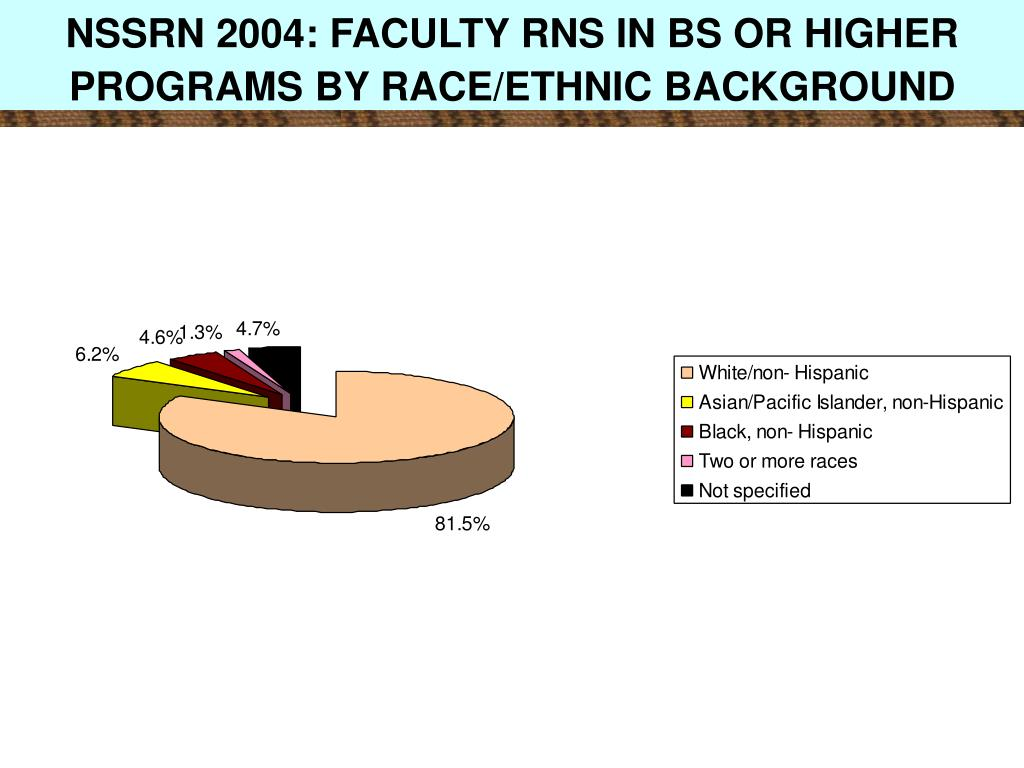 NSSRN 2004: FACULTY RNS IN BS OR HIGHER PROGRAMS BY RACE/ETHNIC BACKGROUND