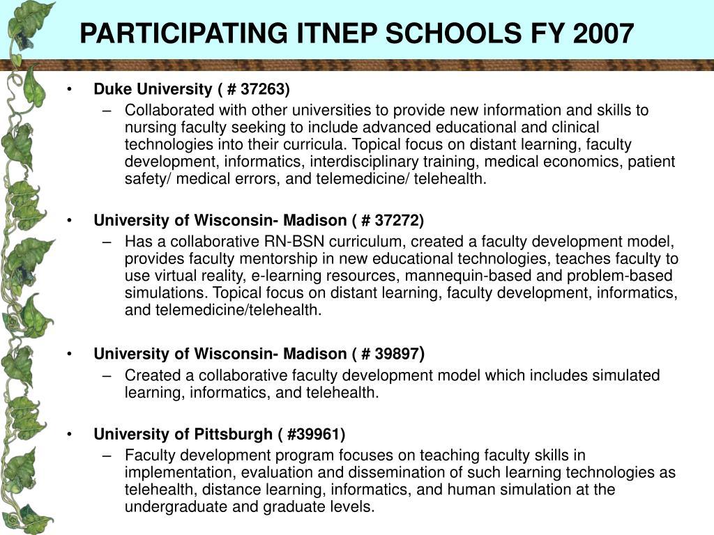 PARTICIPATING ITNEP SCHOOLS FY 2007
