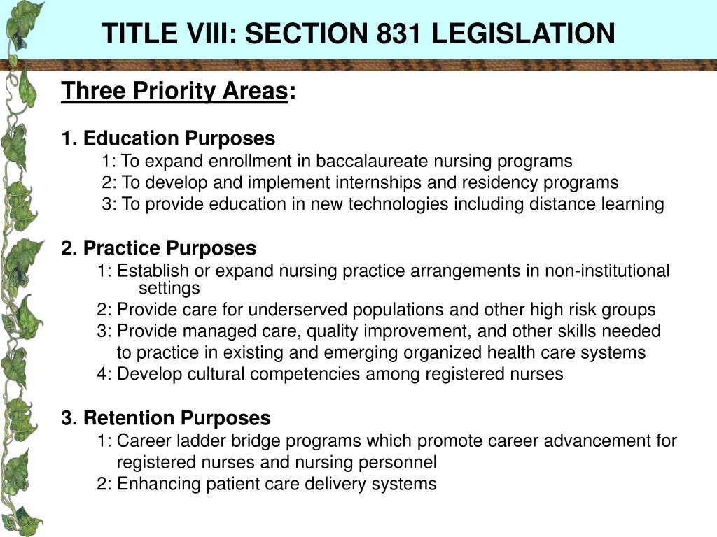 TITLE VIII: SECTION 831 LEGISLATION