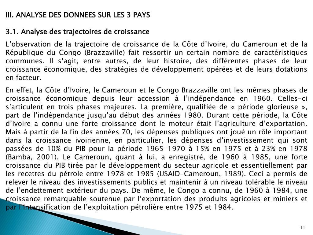 III. ANALYSE DES DONNEES SUR LES 3 PAYS