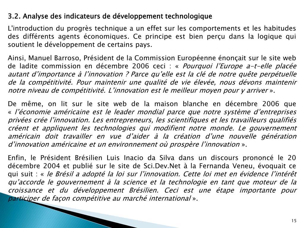 3.2. Analyse des indicateurs de développement technologique