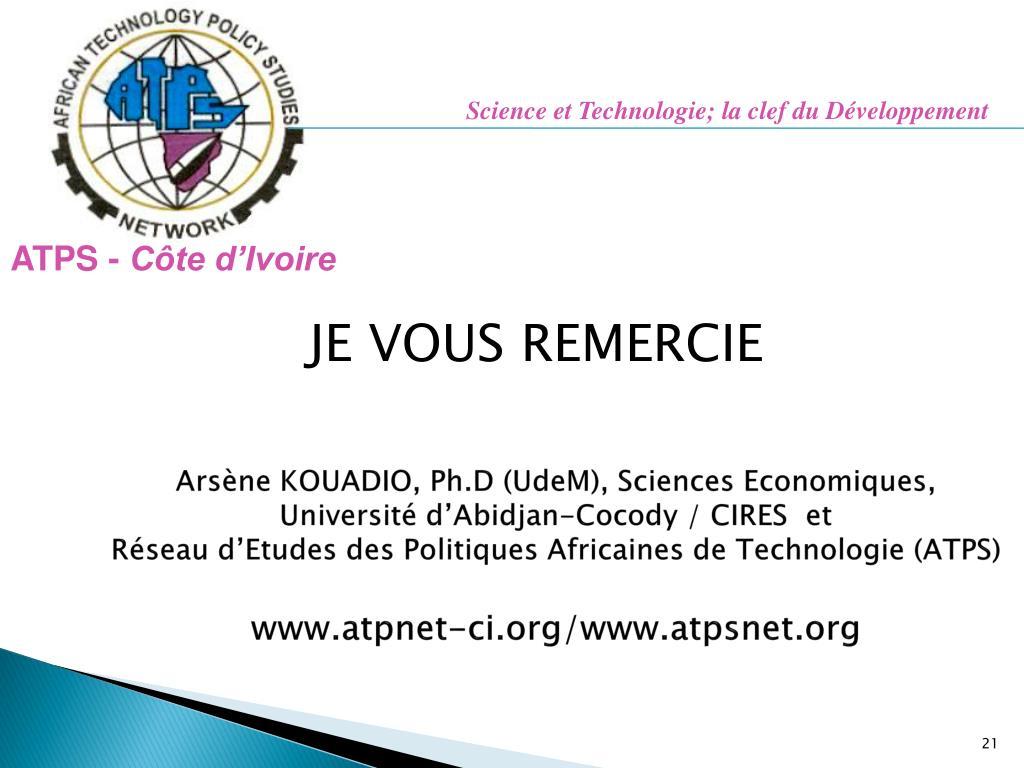 Science et Technologie; la clef du Développement