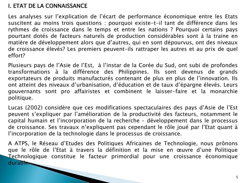 I. ETAT DE LA CONNAISSANCE