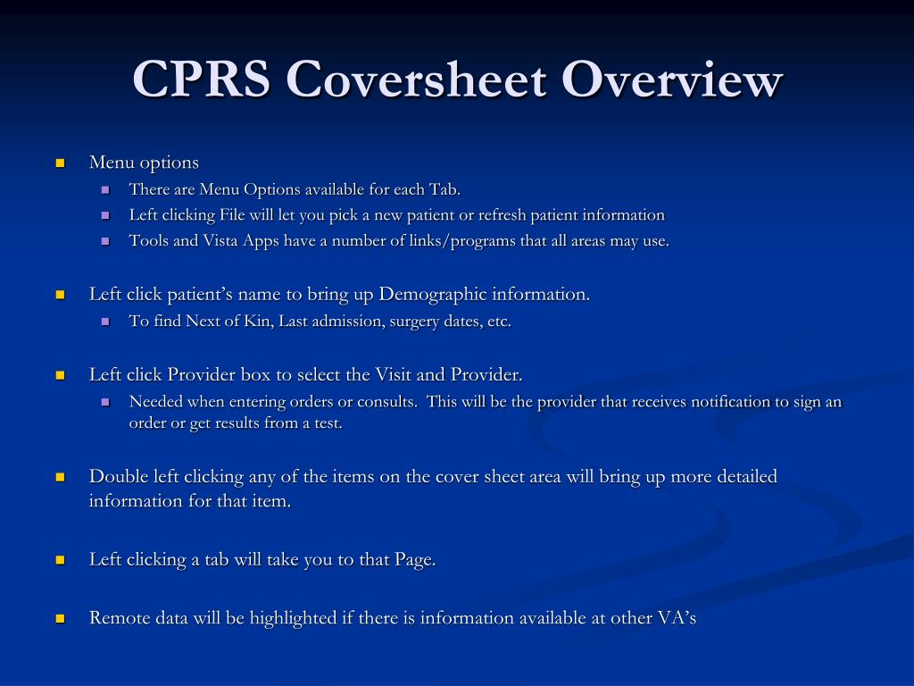 CPRS Coversheet Overview