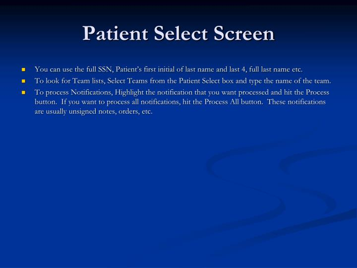 Patient select screen3