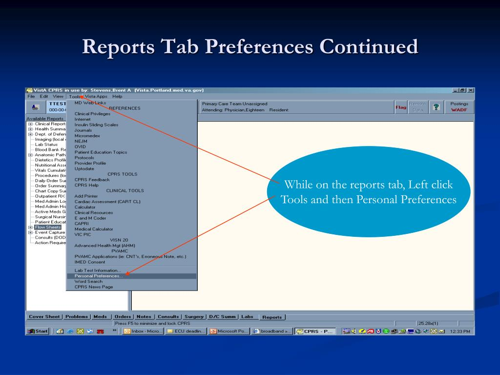 Reports Tab Preferences Continued